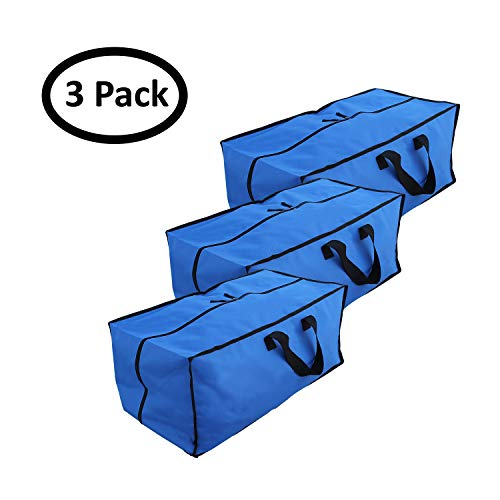 Earthwise Extra Large Storage Bag Moving Tote Heavy Duty 600D Nylon Zipper Closure- Reusable Multi Use - For Storing & Transporting - Duffel Compatible with Ikea Frakta Carts (Pack of 3) by Earthwise