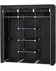 SONGMICS 59 Inch Portable Closet, Non-Woven Fabric Storage Organizer Wardrobe, Black URYG12H