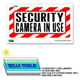 Security Camera In Use - 12 in x 6 in - Laminated Sign Alert Warning Business Sticker