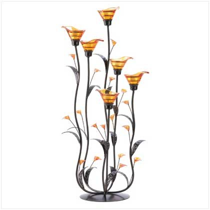 - Gifts & Decor Amber Calla Lily Flower Bunch Tealight Candle Holder
