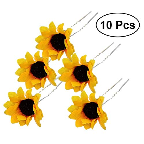 Frcolor 10PCS Hair pins for Women Daisy Sunflower Bridal Wedding Party, Bridesmaids, Proms, Hair Pins Hair Clips