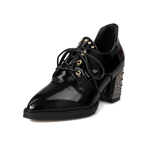 Odomolor Women's Patent Leather Lace-up Pointed Closed Toe Kitten-Heels Solid Pumps-Shoes Black