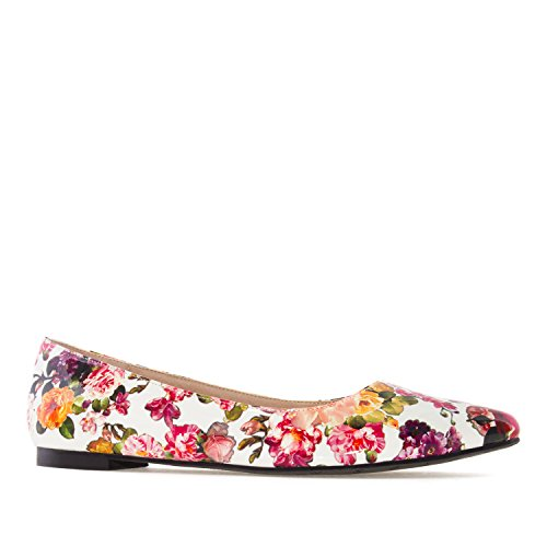 Andres Machado AM5228.Ballet Flats In Glitter/Patent.Large Sizes:UK 8 To 10.5/EU 42 To 45. White Flower Printed Patent