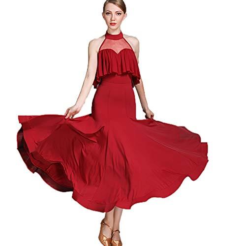 Moderna Foxalt Ballo Burgundy Sociali Balli Sera Seta Costume Prestazione Le Vestito Sala Gonna S Wqwlf Per Donne Ice xl Senza Maniche Da Abito Di Balletto dtnaAWqw