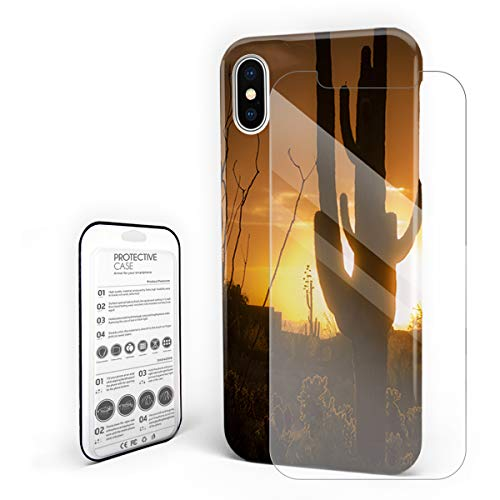 Compatible with iPhone X Case, Hard PC Back Phone Case with Tempered Glass Screen Protector Cactus Sunset Western No Man's Land Shockproof Cover