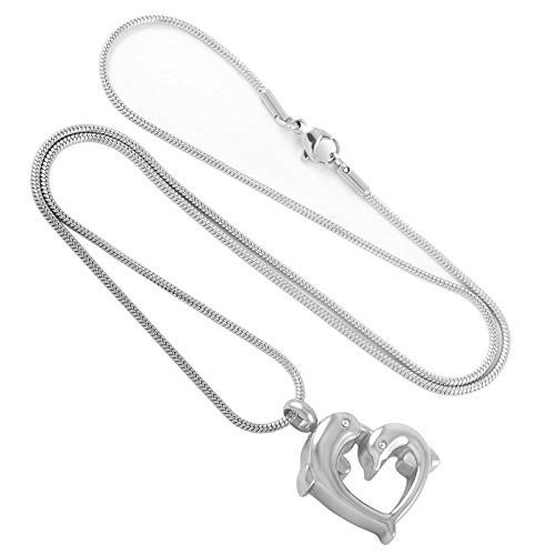 Davitu KSJ9150 Double Dolphins Kissing Design Heart Urn Cremation Necklace Pet Ashes Holder Keepsake Funeral Urns Casket for Men Women Main Stone Color: Pendant with Chain