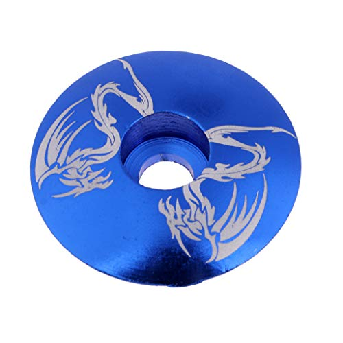 DYNWAVE Bicycle Headset Top Cap Cover - Bike Stem Accessories - Ultra Light & Durable Blue Dragon -
