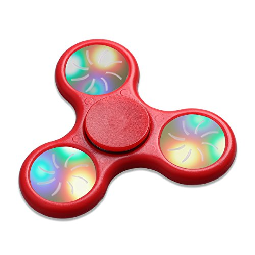 Fidget Spinner Toy,DayToys Stress Reducer Ceramic Bearing With Replaceable Battery Flickering Light - Perfect For ADD, ADHD, Anxiety, and Autism Adult Children (Red-01) DayToys