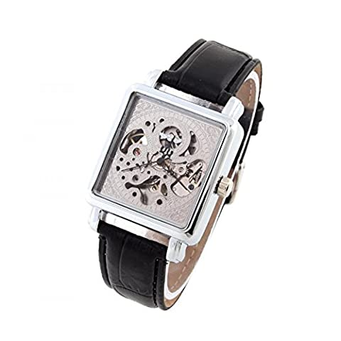 Winner Mechanical Watch Hardlex Silver Square Dial Fashion Casual Wristwatch Steel Case Leather Band Stainless Steel (Winner Korean Band)