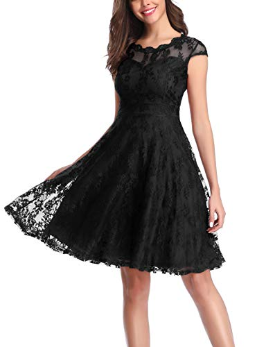 CHUNNA Women's Vintage Floral Lace Cap Sleeve Fit Flare Elegant Cocktail Party Dress Black