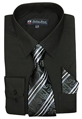 "Black Shirt Red Tie (Fortino Landi Men's Long Sleeve Dress Shirt With Matching Tie And Handkerchief (17-17.5"" Neck 36/37"" Sleeve (XLarge), Black))"