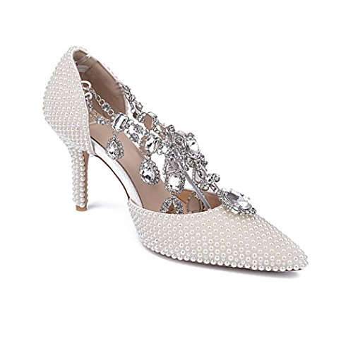 Court SMA0421 Evening White Pointed Rhinestone Women's Pumps Shoes Wedding Bridal Sarahbridal Prom Shoes Toe qSaA17gw