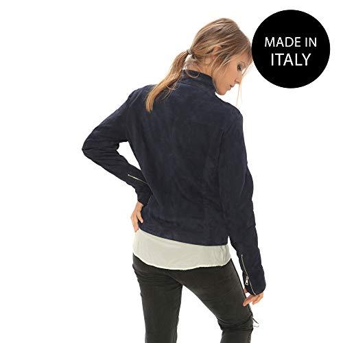 Italy Da Pelle In Vera Made Donna Blu Giubbotto nwqYaPzz
