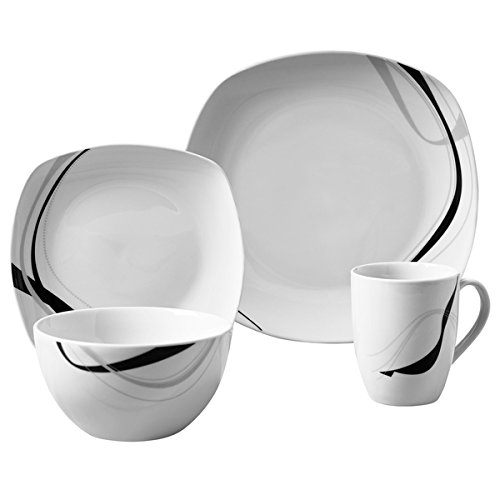 Carnival 16pc Soft Square Porcelain Dinnerware Set For Sale