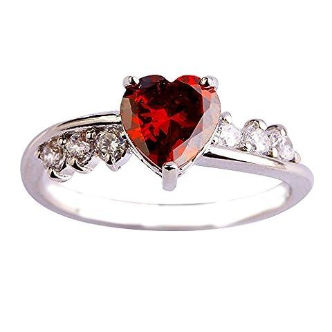 Empsoul 925 Sterling Silver Natural Fancy Filled January Birthday Garnet & CZ Heart Shaped Wedding (Garnet Rings Clearance)
