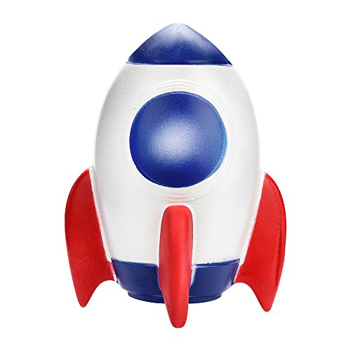 Mikilon Stress Reliever Toys Rocket Squishy Toy Spaceship Decompression Slow Rising Squeeze Cream Scented -