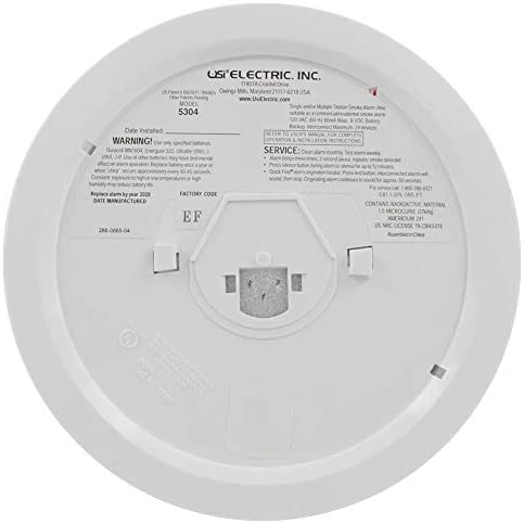 12 Pack Bundle of USI Electric Hardwired Ionization Smoke and Fire Alarm with Battery Backup 5304