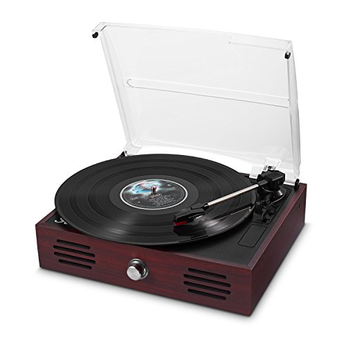 Belt-Drive 3 Speed Retro Turntable Portable Wooden Suitcase LP Vinyl Record Player with Built-in Stereo Speakers by Feir