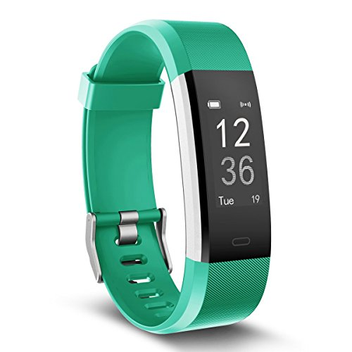 Fitness Tracker, MoreFit Slim HR Plus Heart Rate Smart Bracelet Pedometer Wearable Waterproof Activity Tracker Watch, Silver/ Green