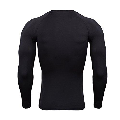 擁する暴徒歌うZhhlaixing スポーツ コンプレッション トップス メンズ Black 長袖 Compression Base Layer Top Traning Under Shirt