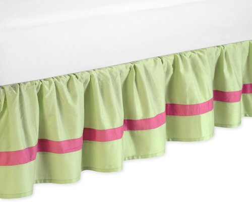Sweet Jojo Designs Pink and Green Flower Collection Bed Skirt for Toddler Bedding Sets Bedskirt Bedding