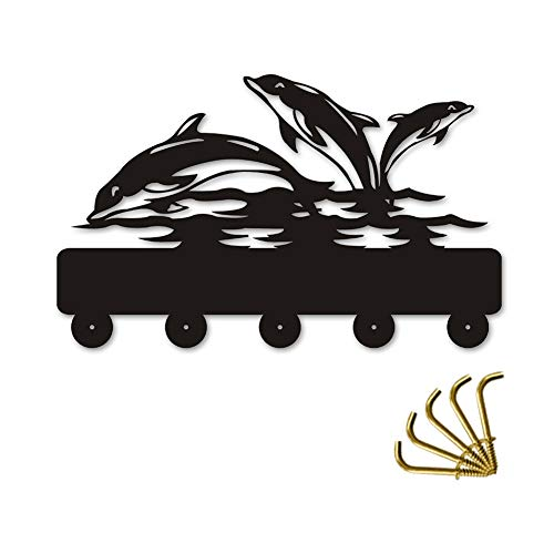 Cute Dolphin Silhouette Wooden Hanger Unique Gift Clothes Hat Key Hook/Coat Rack/Wall Hook Home Decoration Wall Stickers Kitchen Bathroom Towel Hook,Black