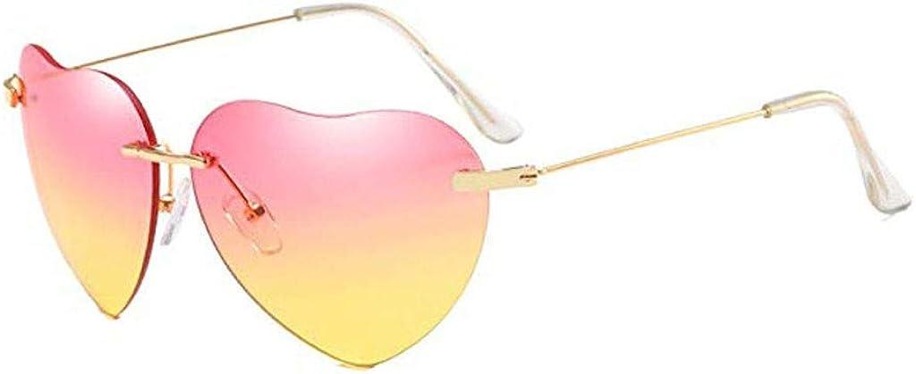 RISTHY Gafas de Sol Mujer-Gafas Corazón Metal Montura Super Ligero Marco Lentes Gradiente Gafas de Playa Protección UV400 Clásico Retro