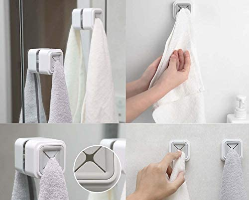 3Pcs No-Drill Cupboard Towel Hook Kitchen Towel Holder Free Opening Dish Towel Rack Rag Hooks Adhesive Towel Hook Tea Towel Hook for Kitchen Bathrooms and Home
