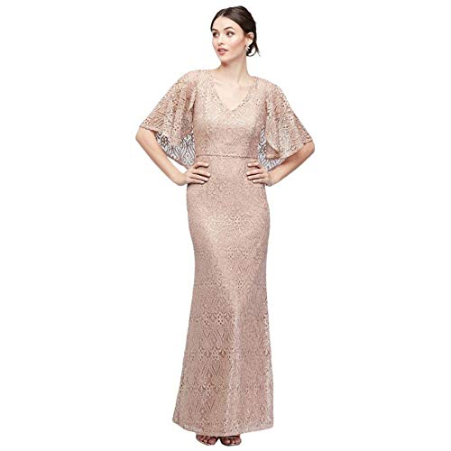 Cape-Sleeve Stretch-Knit Lace Mermaid Mother of Bride/Groom Gown Style 261783D, Taupe, 18