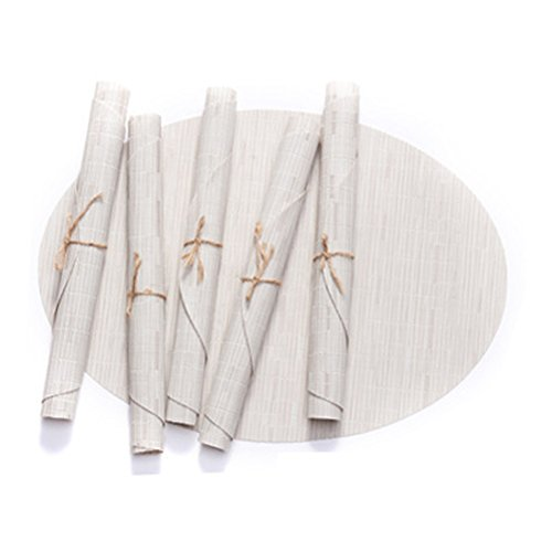 BERTERI Decorative Bamboo Pattern Placemats for Dinner Table, Set of 8 White Oval Heat-resistant PVC Non-slip Table Mat for Home, Outdoor by BERTERI