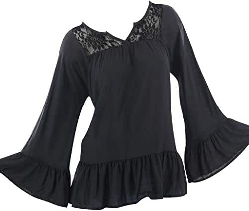 QIQIU Womens Sexy Lace Perspective V Neck Long Sleeve Ruffle Hem Elegant S-5XL Loose Shirts Tops Blouse