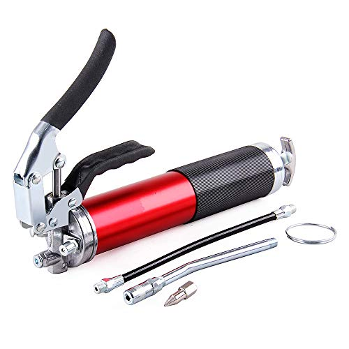 B4B BANG 4 BUCK Professional Pistol Grip Grease Gun 4500 psi Anodized Canister with Flexible Extension and Hose for Tractors, RV's, Cars