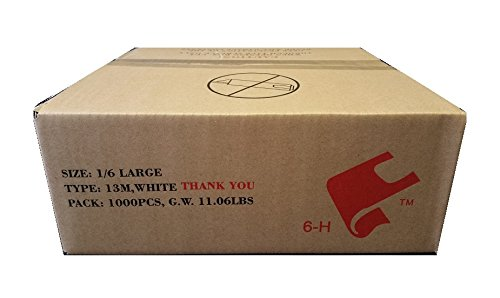 1000ct Large T-shirts Carry-out Thank You Bags 11.5'' X 6.25'' X 21'' 13micron .51mil Plastic Grocery Thank You