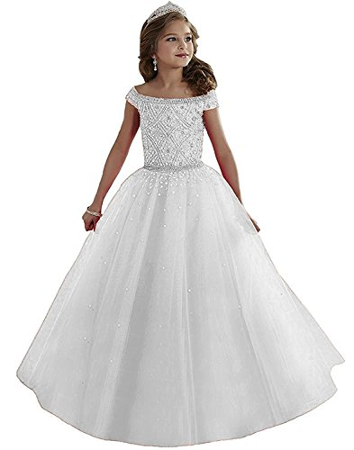 Portsvy Girls Toddler Pageant Dresses Rhinestones Flower Girls Dresses Beads Girls Dress by Portsvy