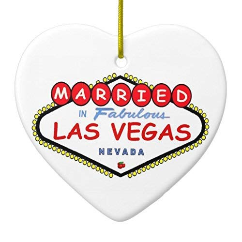 659ParkerRob WSMBDXHJ Christmas Ornaments Wedding Married in Fabulous Las Vegas Ornaments Ceramic,Christmas Decorations Indoor for Tree, for New Couples,for Kids Heart