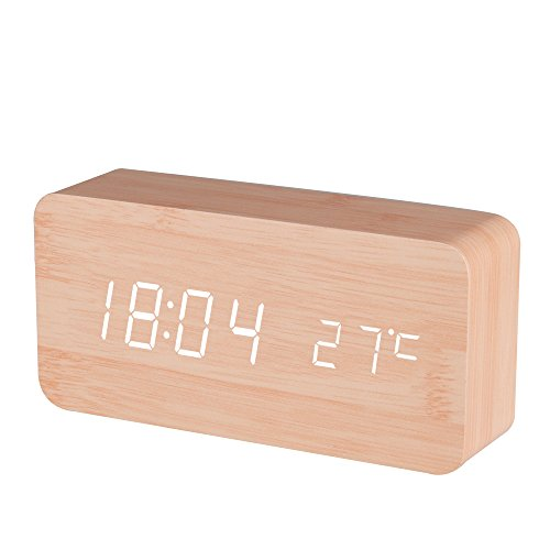 Bamboo Set Nightstand (BALDR Wooden Digital Alarm Clock, Displays Time and Temperature, Voice Control, Bamboo, White)