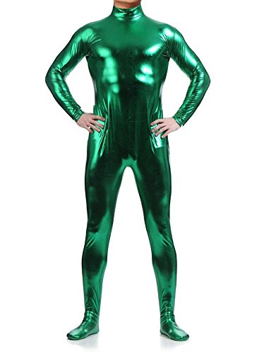 [WOLF UNITARD Long Sleeve Shiny Metallic Zentai Bodysuit X-Large Green] (Green Man Body Suit)