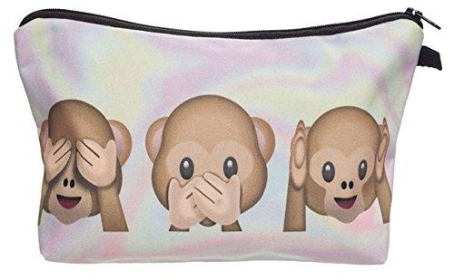 Kukubird Diversión Nueva Imagen Animal Patrón Grabado Neceser Con Bolsa De Polvo De Kukubird 3 Monkeys