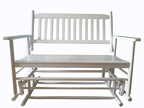 rockingrocker - A058WT White Porch Wood Glider Bench Rocker Patio Wooden Loveseat - Assembled Dimensions:W49.21 x H40.16 x D26.97 inches (Bench White Glider)