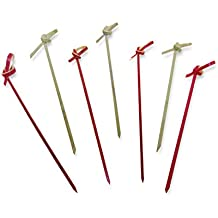 "4.7"" Bamboo Cocktail Picks With With A Knot includes 300 Assorted Red And Wood Color Decorative Bamboo Knotted Cocktail Skewers"