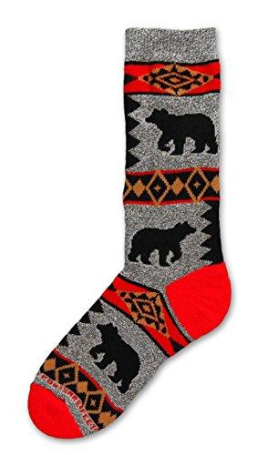 Bear Blanket Motif on Marble Grey Adult Medium Socks Graphic Knit Blanket
