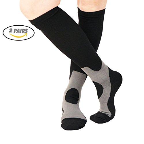 9bb0f25594 VAGUE SWEET 2 Packs Men,Women Knee High Graduate Moisture Wicking  Compression Socks,Best Medical, Nursing, Travel & Flight,Circulation &  Recovery,Running ...