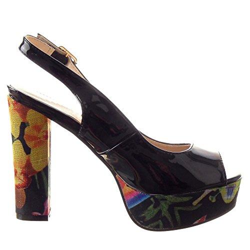 Sopily - Zapatillas de Moda Sandalias Tacón escarpín Zapatillas de plataforma Tobillo mujer brillantes flores Talón Tacón ancho alto 11.5 CM - Negro