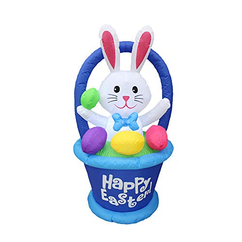 Impact Canopy Inflatable Outdoor Easter Decoration, Easter Bunny Egg Basket, 4 Feet Tall