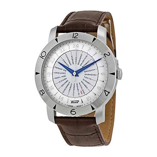 Tissot Heritage Navigator Silver Dial Brown Leather Mens Watch T0786411603700 (Silver Heritage Dial)