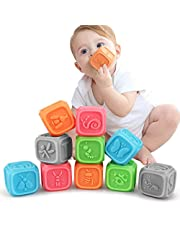 tumama Baby Toys for 0 3 6 12 Month ,Teething Toys Educational Baby Bath Toys Soft Building Blocks for Toddlers, Soft Ball for 0-3 Years