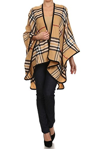ReneeC. Women's Print Open Front Winter Fashion Cardigan Sweater Poncho (One Size, Plaid Tan) (Plaid Poncho)