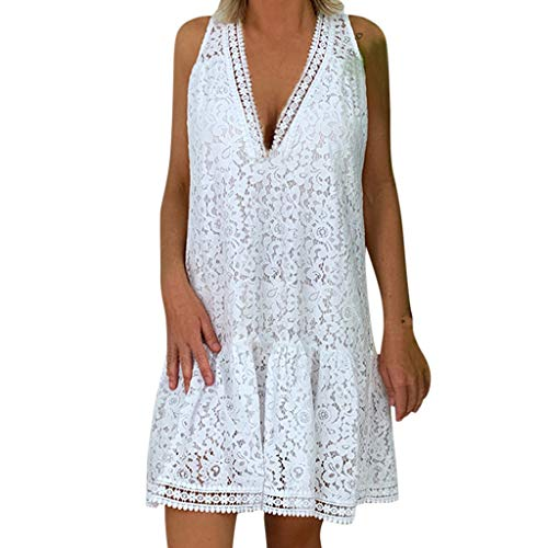 (Sunhusing Ladies Openwork Lace Flower Stitching Sexy V-Neck Sleeveless Pleated Hem Dress Summer Boho Mini Dress White)