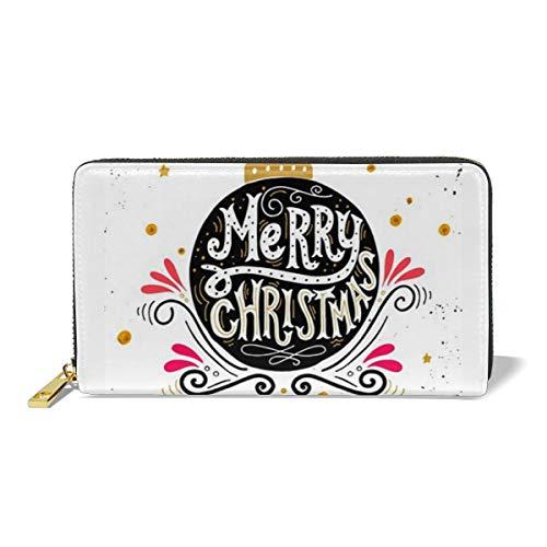 Leather Wallet Zipper Around Clutch Purse Waterproof Card Holder For Men & Women - Merry Christmas ()