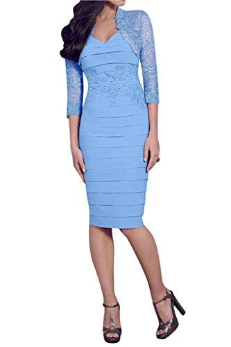 Kurz Auschnitt Festkleider Abendkleid V Chiffon Ivydressing Mit Bolero Damen Mutterkleider Liebling Etui amp;Spitze Hellblau Linie qZaHS8ta